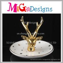 Lovely Deer Use Ceramic with Electroplating Ring Holder