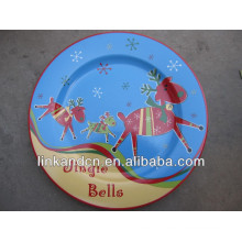 KC-02544hand painted christmas deer plates,for kids funny round flat pizza/cake plates