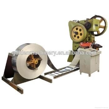 Alimentación de bobinas Conecte la punzonadora para hacer una línea de tapa de cubeta de hielo / lata de metal