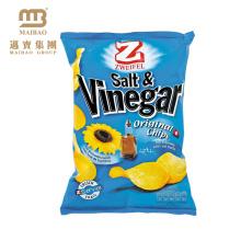 La conception faite sur commande de logo d'usine a imprimé le dos a scellé la feuille d'aluminium a rayé le matériel en plastique de pommes chips de pommes de terre empaquetant le sac