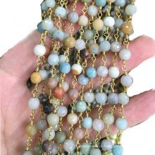 XULIN Atacado Mix-cor Natural Gemstone Fio Envolto Rosário Beads Cadeia