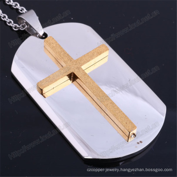 Wholesale Fashion Stainless Steel Dog Tag Cross Pendant (IO-st244)