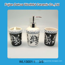 Antique style ceramic bathroom accessories set with decal