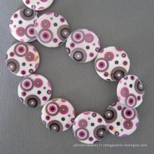 Des motifs géométriques disque perles de coquillage, coquille grosse pièce de monnaie (SHB2004)