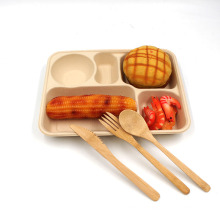 Biodegradable Natural Green Healthy Sugarcane Bagasse Plates 5 Compartment Trays For Take Out