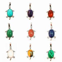 Silver Natural Gemstone Tortoise Charms Pendant for women men jewelry necklace