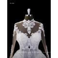 2017 neue Design lange Ärmel Kathedrale Zug Brautkleid