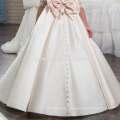 White flower Aline Lace baby girl wedding dress for 7 years