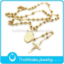 TKB-N0019 Collar de acero inoxidable de alta calidad 316L Charm Santo de la Virgen de oro de alto proceso de cruz