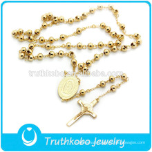 TKB-N0019 High Process Golden Virgin Mary Cross Saint Charm 316L High Quality Stainless Steel Necklace