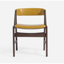 Modern wood leisure chair with leather back seat
