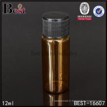Flacon ambré de 12 ml en verre avec couvercle noir