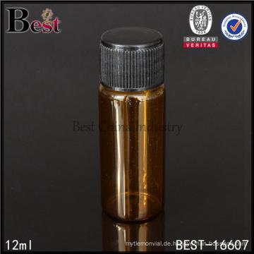 12 ml kleine Glasflasche Bernstein Fläschchen mit schwarzem Deckel
