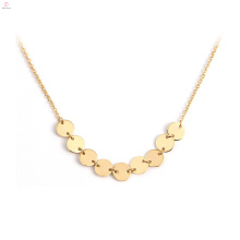 Stainless Steel Fashion Jewelry Choker Chain 18K Gold Coin Pendant Necklace