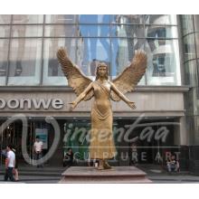 decoração do jardim ao ar livre metal artesanato bronze estátua de anjo alado