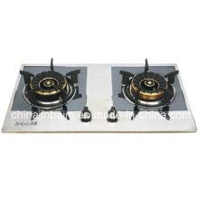 Cuisinière à gaz en cuvette en acier inoxydable recouvert de 2 brûleurs