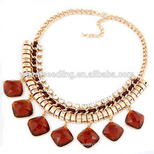 Gold chain fashion necklace ruby beads necklace design