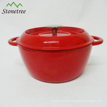 Red Enamel Cast Iron Indian Cooking Pots