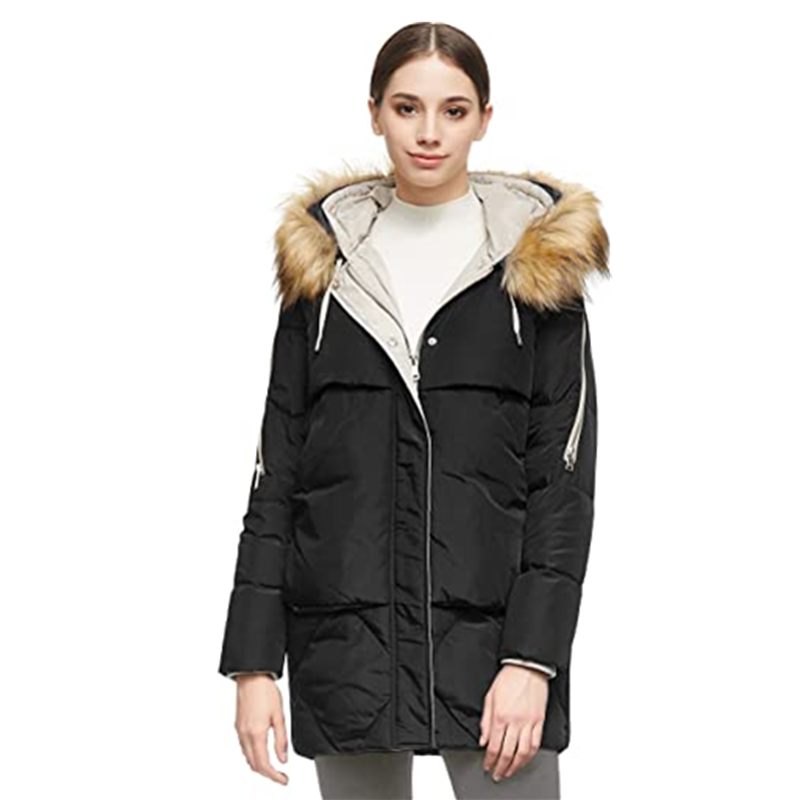 Women S Thickened Mid Length Down Jacket With Removable Fur Hood Large Pockets4
