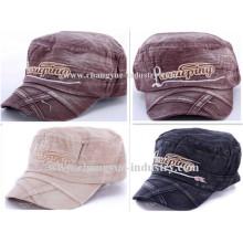 Sombrero del casquillo plano militar jeans lavados algodón bordado