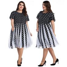 Retro women ball gown elegant knee-length dresses black and white dots bubble chiffon plus size dresses