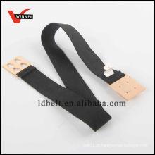 Hot Sale Black com Gold Rivet Buckle Lady's Fashion Elastic Waist Belt