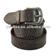 Men Genuine Leather Belt With Antique Silver Plated Alloy Buckle
