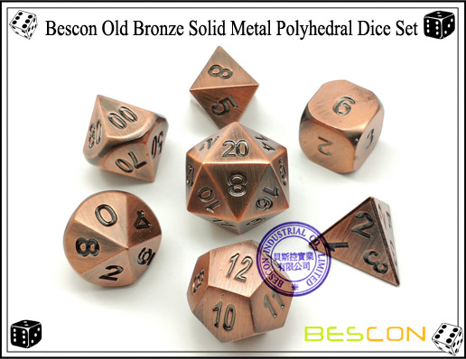 Bescon Old Bronze Solid Metal Polyhedral Dice Set-2