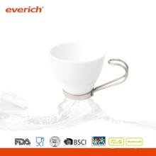 Nueva taza de café de cerámica personalizada blanca y negra con mango