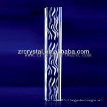 Água gravada água do laser K9 3D com forma da coluna