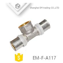 ЭМ-Ф-цвет a117 никелированная Латунь женский латунь сжатия штуцер трубы тройника