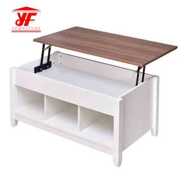 Biały stolik MDF Lift Top Wood Modern