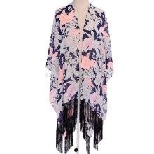 Мода дамы цветочный принт полиэстер бахрома шарф