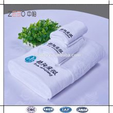 5 Star Hotel Used Pure White Embroidery Towel Sets Cotton Royal Hotel Towels