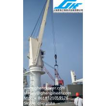 Heavy-Duty Hydraulic Bulk Cargo Crane on Ship Deck