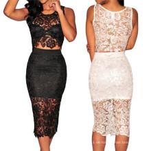 Hohe Qualität zweiteilige sexy Damen Spitze Abendkleid (50137)