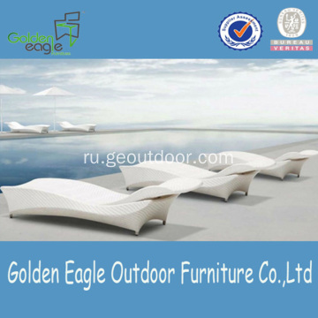 Foldable White Rattan SunBed Furniture  Aluminum Tube