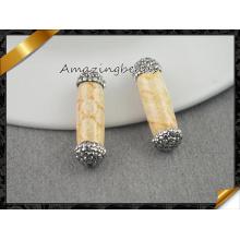 Природные коралловые окаменелости, круглые трубки Gemstone Druzy Бусины для изготовления ювелирных изделий из ожерелья (EF0109)