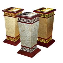 Papelera de madera y metal para el vestíbulo (YW0062)