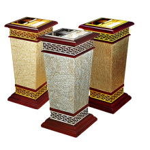 Wooden and Metal Trash Bin for Lobby (YW0062)