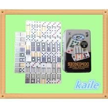 Doppel 12 weißer Domino in der Blechdose