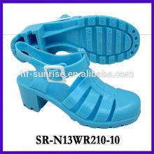 SR-N13WR210-10 (2) sandálias do pvc das senhoras sandálias plásticas sandálias do gelado do salto alto sandálias por atacado da geléia