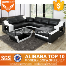 Black and white leather sofa set living toom furniture with chaise
