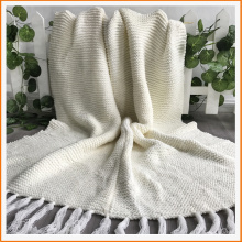 Heavy Gauge King Size Ivory Chunky Blanket with tassel