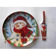 Muñeco de nieve, niños, fantasía, impresión, cerámica, pastel, placa, servidor