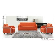 Красный современный офисный диван, кожаный диван с рамкой из нержавеющей стали (8509)