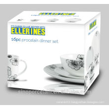16 PCS Porcelain Dinner Set with Black Printing for BS140623A