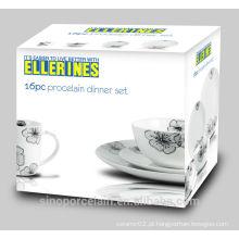 16 PCS conjunto de jantar de porcelana com impressão em preto para BS140623A