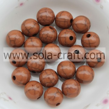 Cracked Acrylic Plastic Brown Ball Shinny Lots Of 6MM Loose Beads