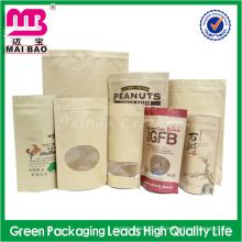 Embalaje de alimentos que se puede volver a sellar utilizar bolsa de papel kraft de muesca con cremallera y ventana